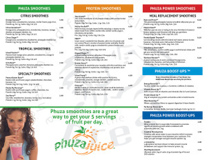 Phuza Juice Menu